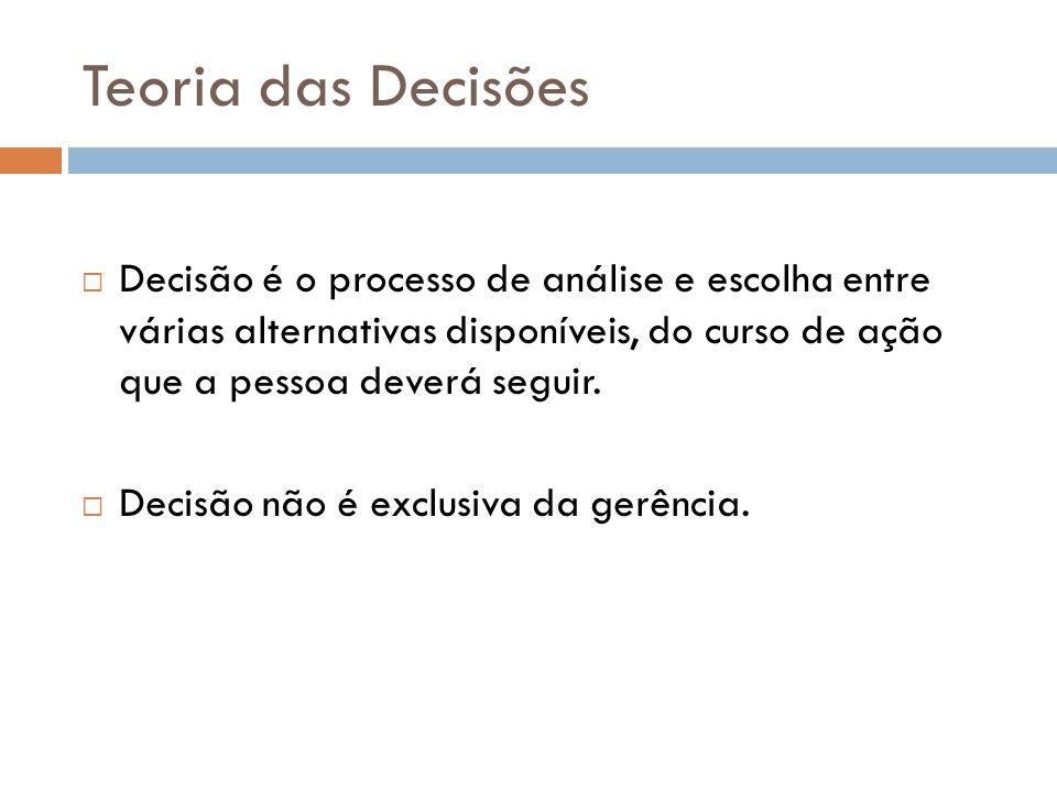 Teoria das Decisões Decisão é o processo de análise e escolha entre várias alternativas disponíveis, do curso de ação que a pessoa deverá seguir. Deci