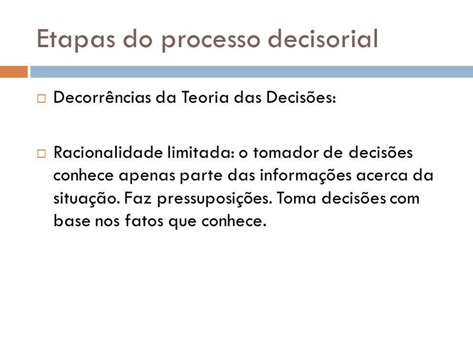 Etapas do processo decisorial Decorrências da Teoria das Decisões: Racionalidade limitada: o tomador de decisões conhece apenas parte das informações