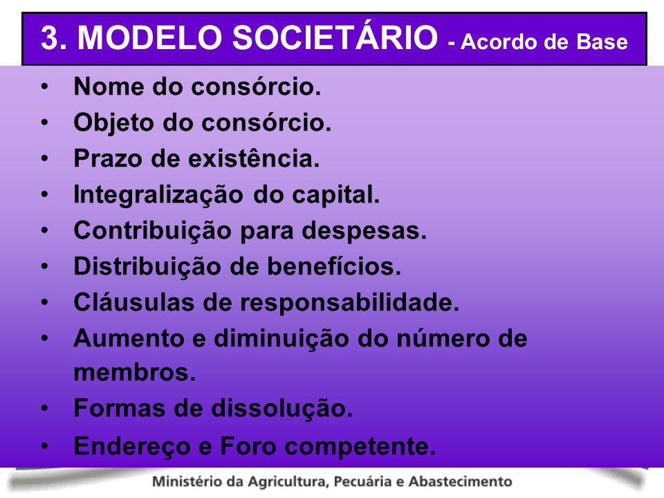 3. MODELO SOCIETÁRIO - Acordo de Base Nome do consórcio. Objeto do consórcio. Prazo de existência. Integralização do capital. Contribuição para despes