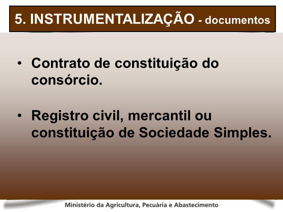 5. INSTRUMENTALIZAÇÃO - documentos Contrato de constituição do consórcio. Registro civil, mercantil ou constituição de Sociedade Simples.