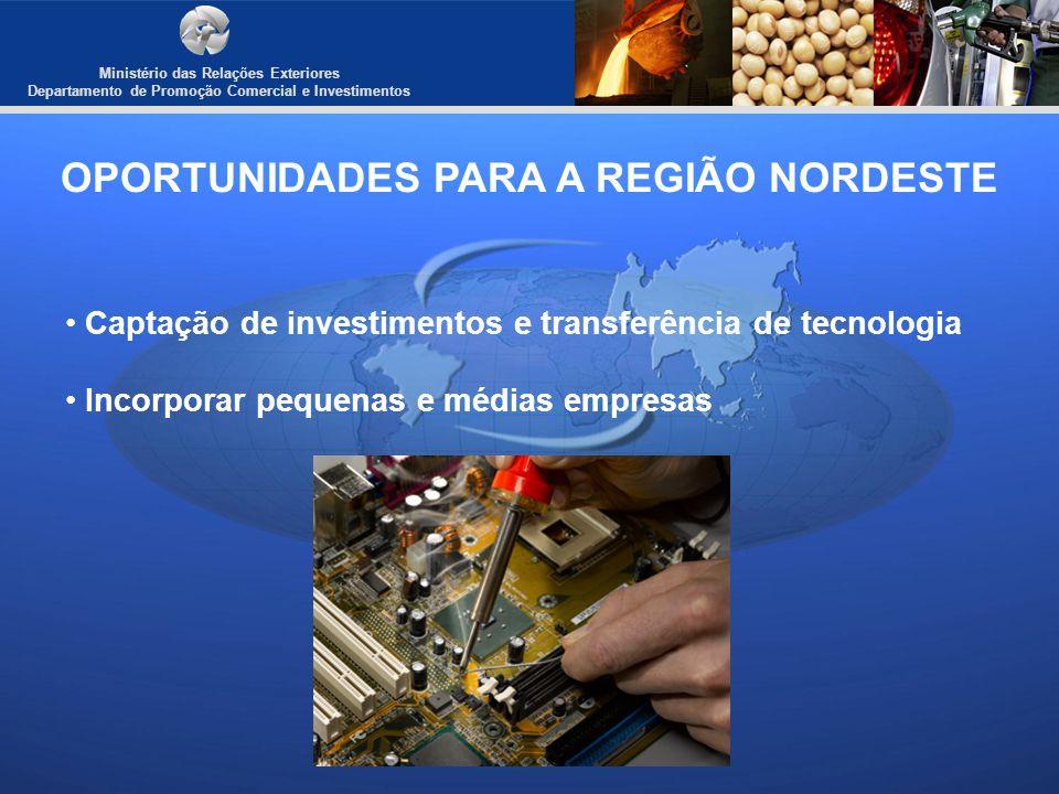 Ministério das Relações Exteriores Departamento de Promoção Comercial e Investimentos OPORTUNIDADES PARA A REGIÃO NORDESTE Captação de investimentos e