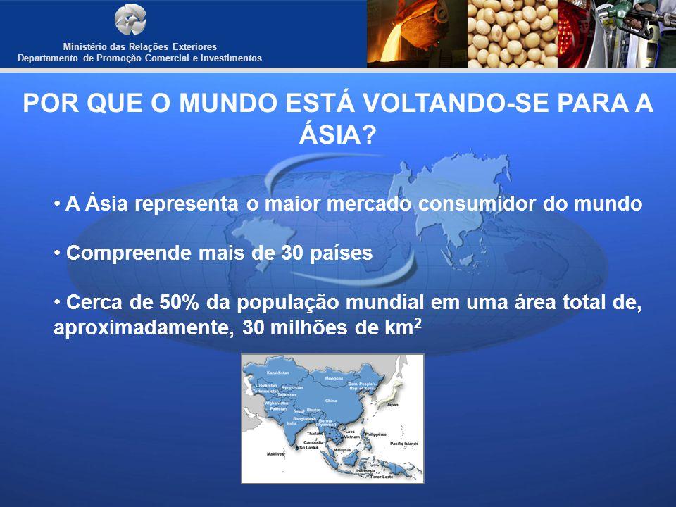Departamento de Promoção Comercial e Investimentos POR QUE O MUNDO ESTÁ VOLTANDO-SE PARA A ÁSIA? A Ásia representa o maior mercado consumidor do mundo