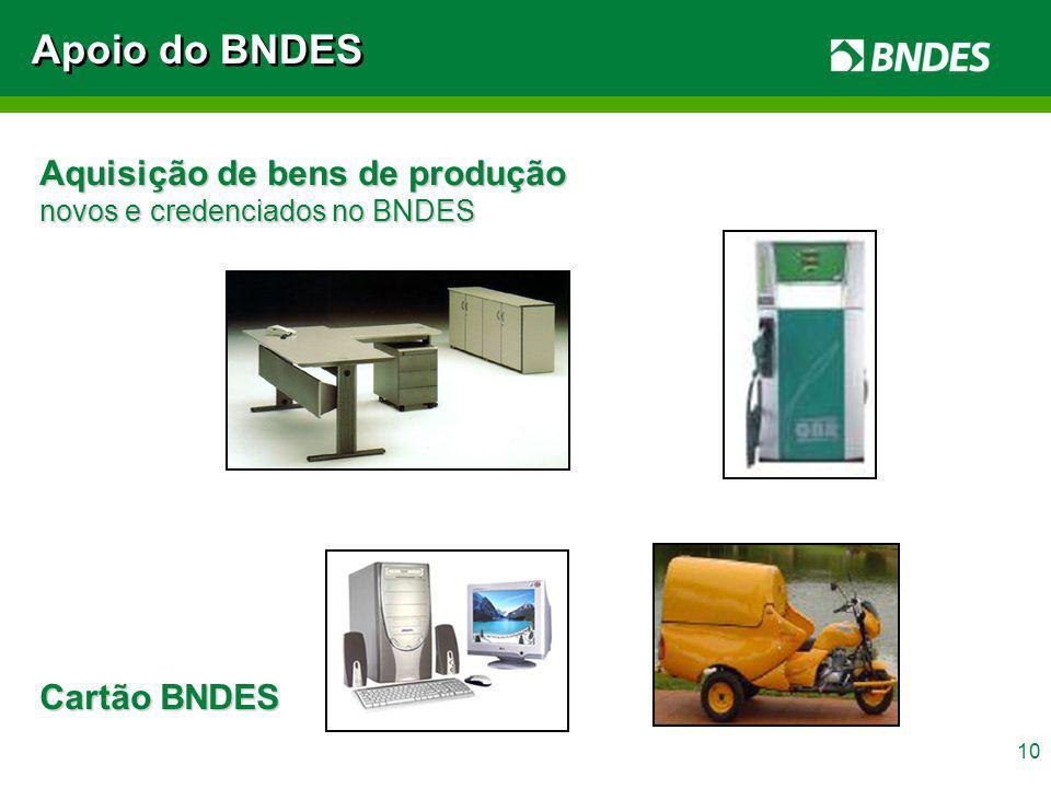 10 Aquisição de bens de produção novos e credenciados no BNDES Apoio do BNDES Cartão BNDES