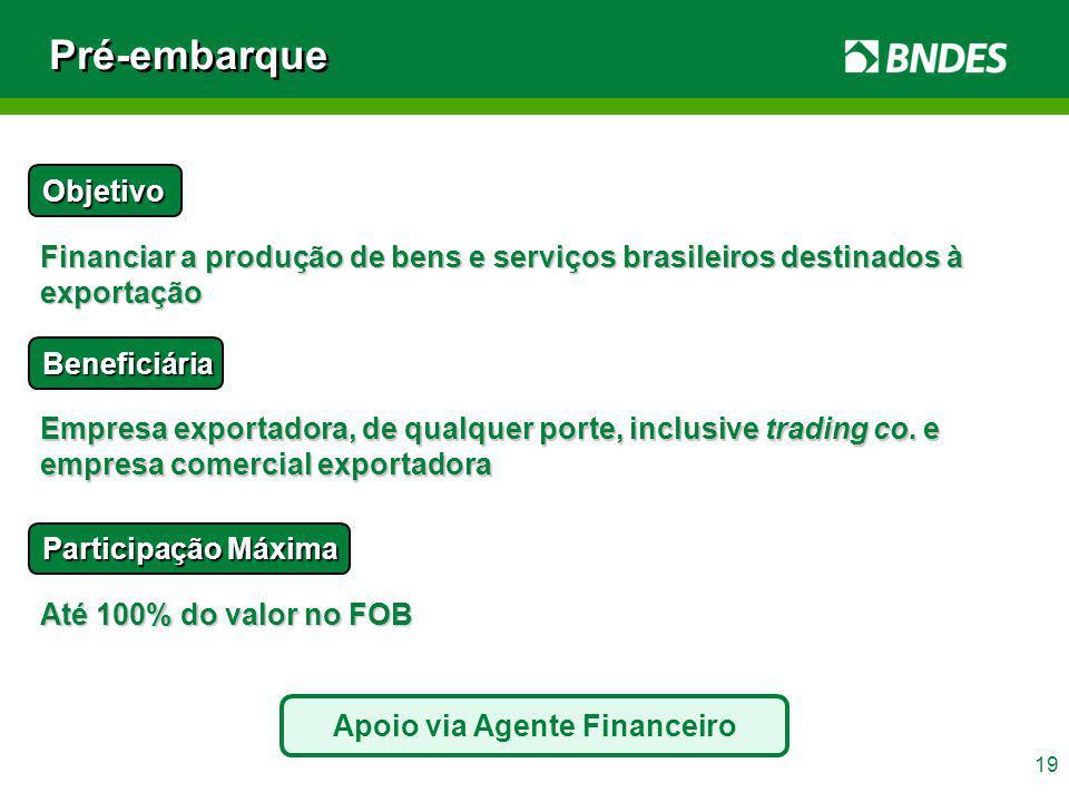 19 Pré-embarque Objetivo Financiar a produção de bens e serviços brasileiros destinados à exportação Beneficiária Empresa exportadora, de qualquer por