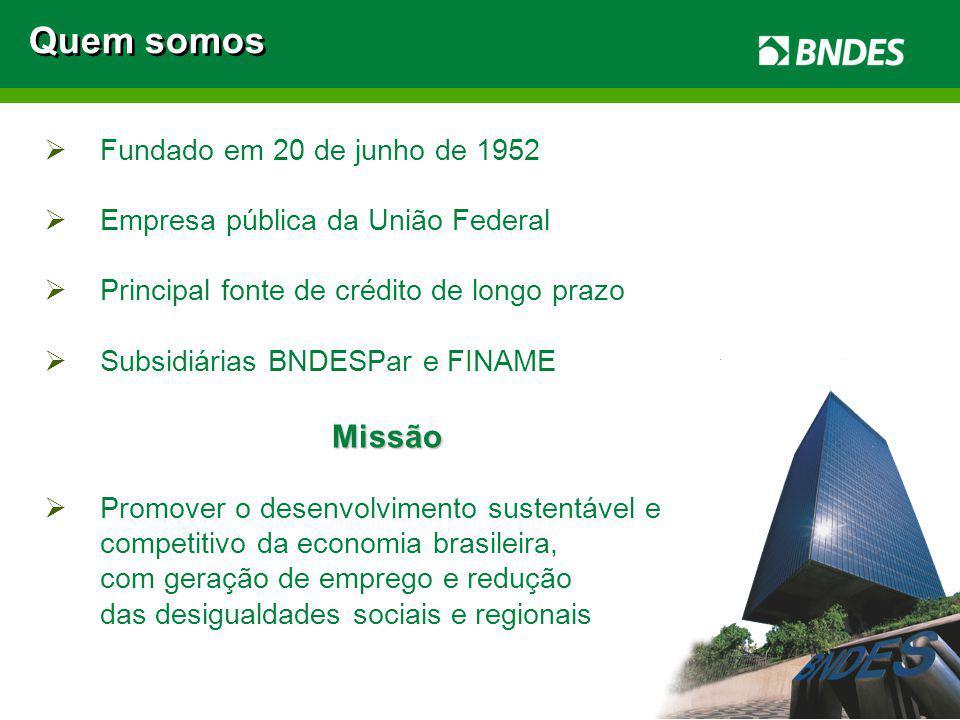2 Fundado em 20 de junho de 1952 Empresa pública da União Federal Principal fonte de crédito de longo prazo Subsidiárias BNDESPar e FINAMEMissão Promo