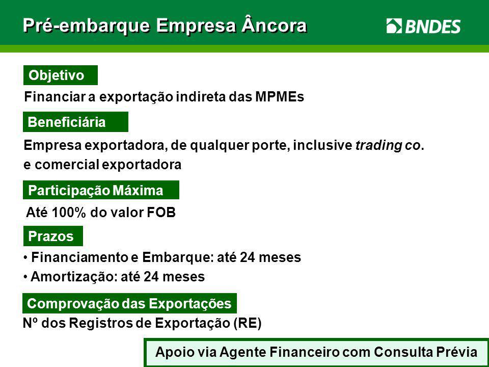 23 Financiar a exportação indireta das MPMEs Beneficiária Empresa exportadora, de qualquer porte, inclusive trading co. e comercial exportadora Até 10
