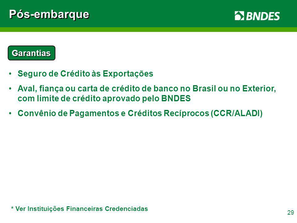 29 Garantias Seguro de Crédito às Exportações Aval, fiança ou carta de crédito de banco no Brasil ou no Exterior, com limite de crédito aprovado pelo