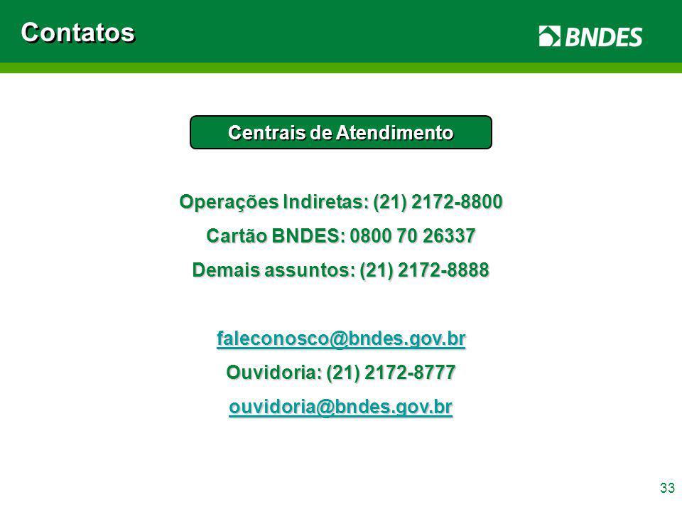 33 Contatos Centrais de Atendimento Operações Indiretas: (21) 2172-8800 Cartão BNDES: 0800 70 26337 Demais assuntos: (21) 2172-8888 faleconosco@bndes.