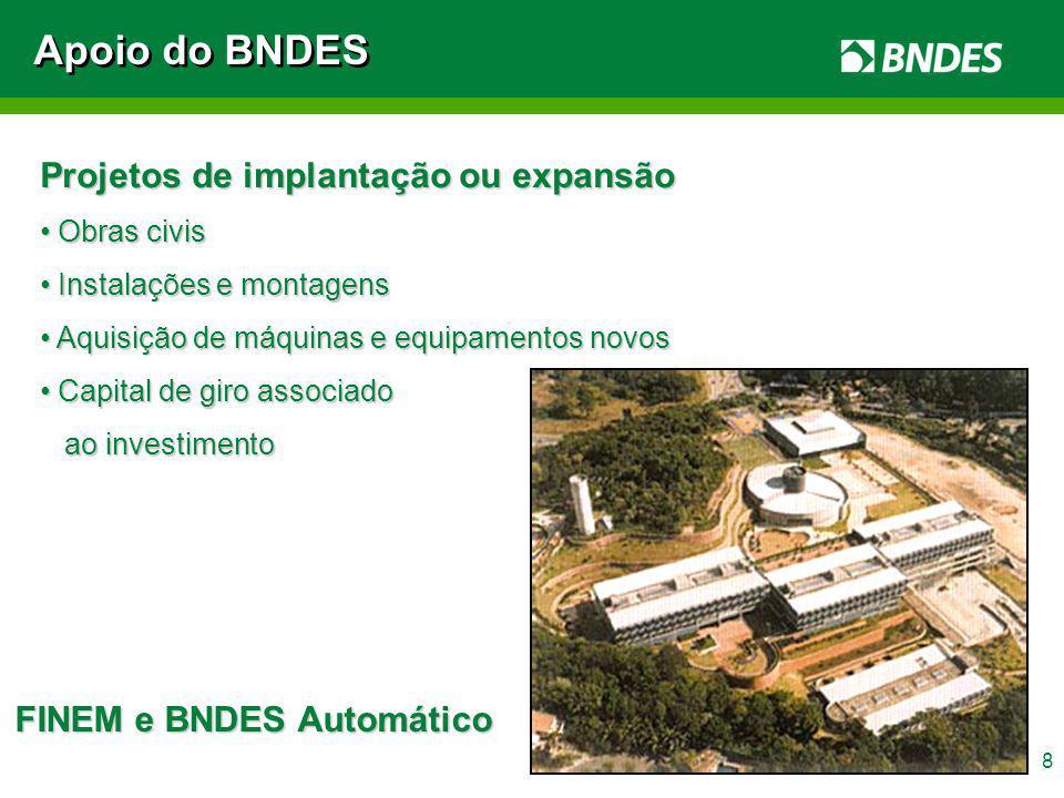 9 Aquisição de máquinas e equipamentos isolados novos, de fabricação nacional e credenciados no BNDES Apoio do BNDES FINAME
