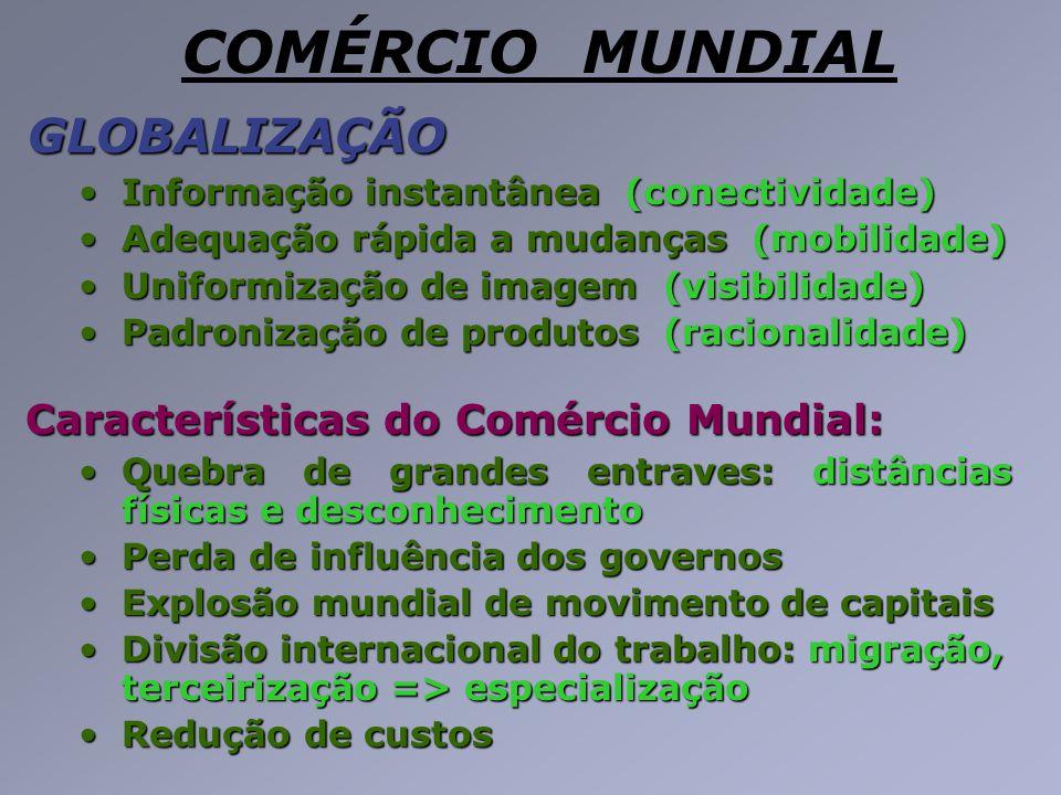GLOBALIZAÇÃO GLOBALIZAÇÃO Informação instantânea (conectividade)Informação instantânea (conectividade) Adequação rápida a mudanças (mobilidade)Adequaç