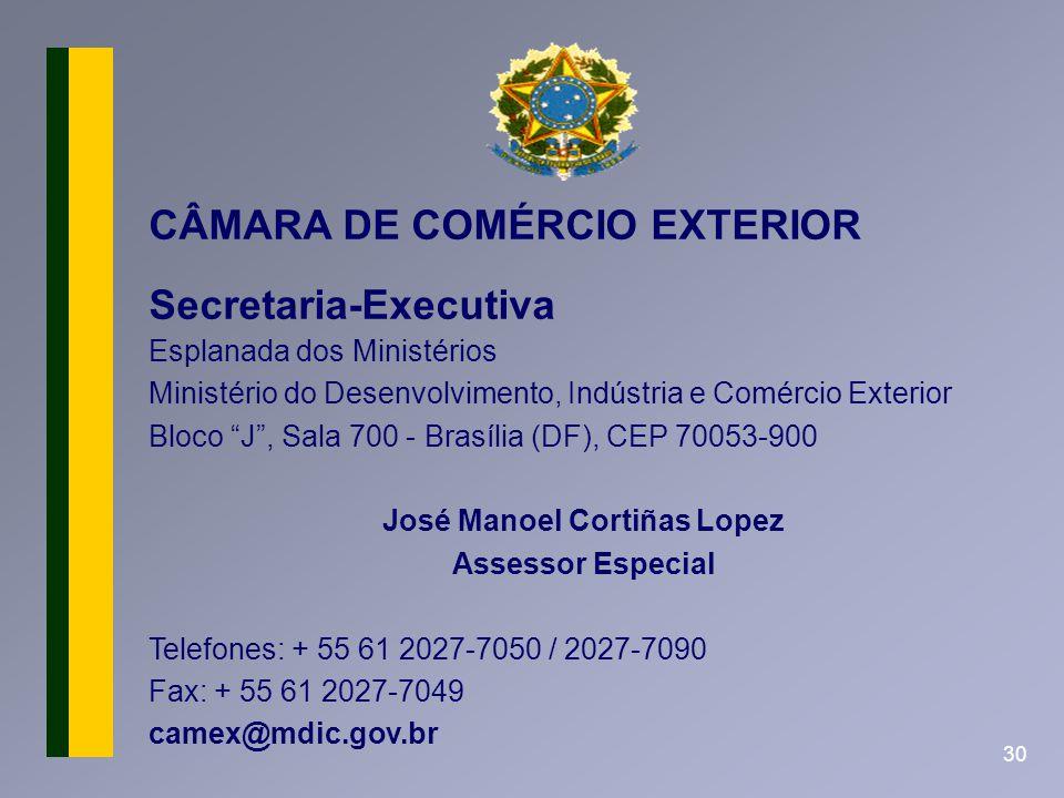 30 CÂMARA DE COMÉRCIO EXTERIOR Secretaria-Executiva Esplanada dos Ministérios Ministério do Desenvolvimento, Indústria e Comércio Exterior Bloco J, Sa
