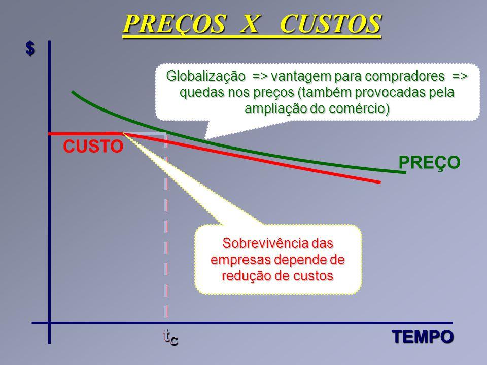 PREÇOS X CUSTOS $TEMPO PREÇO tCtCtCtC CUSTO Globalização => vantagem para compradores => quedas nos preços (também provocadas pela ampliação do comérc