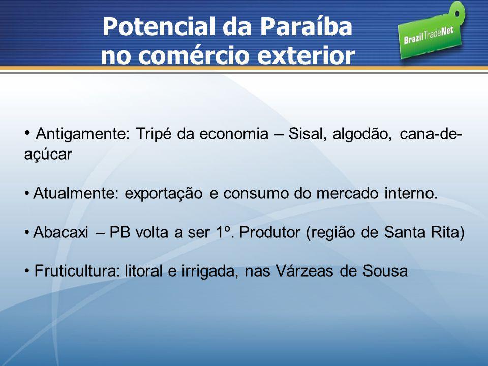 Potencial da Paraíba no comércio exterior Antigamente: Tripé da economia – Sisal, algodão, cana-de- açúcar Atualmente: exportação e consumo do mercado