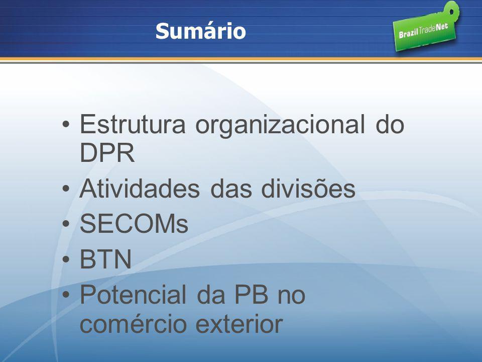 Sumário Estrutura organizacional do DPR Atividades das divisões SECOMs BTN Potencial da PB no comércio exterior
