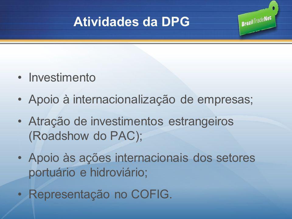 Investimento Apoio à internacionalização de empresas; Atração de investimentos estrangeiros (Roadshow do PAC); Apoio às ações internacionais dos setor
