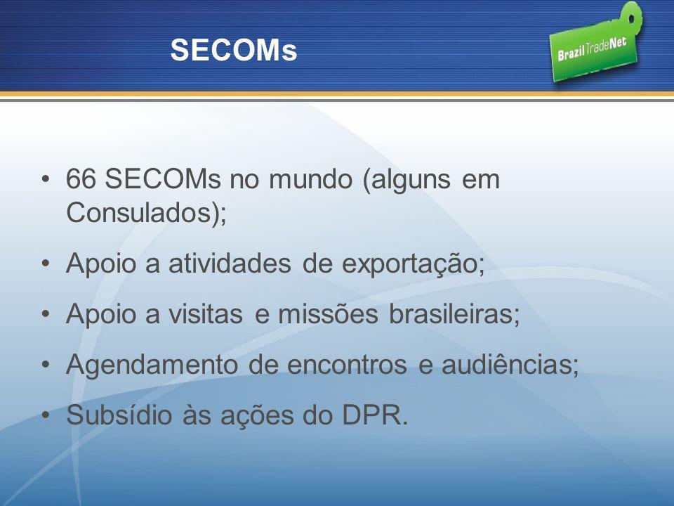 66 SECOMs no mundo (alguns em Consulados); Apoio a atividades de exportação; Apoio a visitas e missões brasileiras; Agendamento de encontros e audiênc