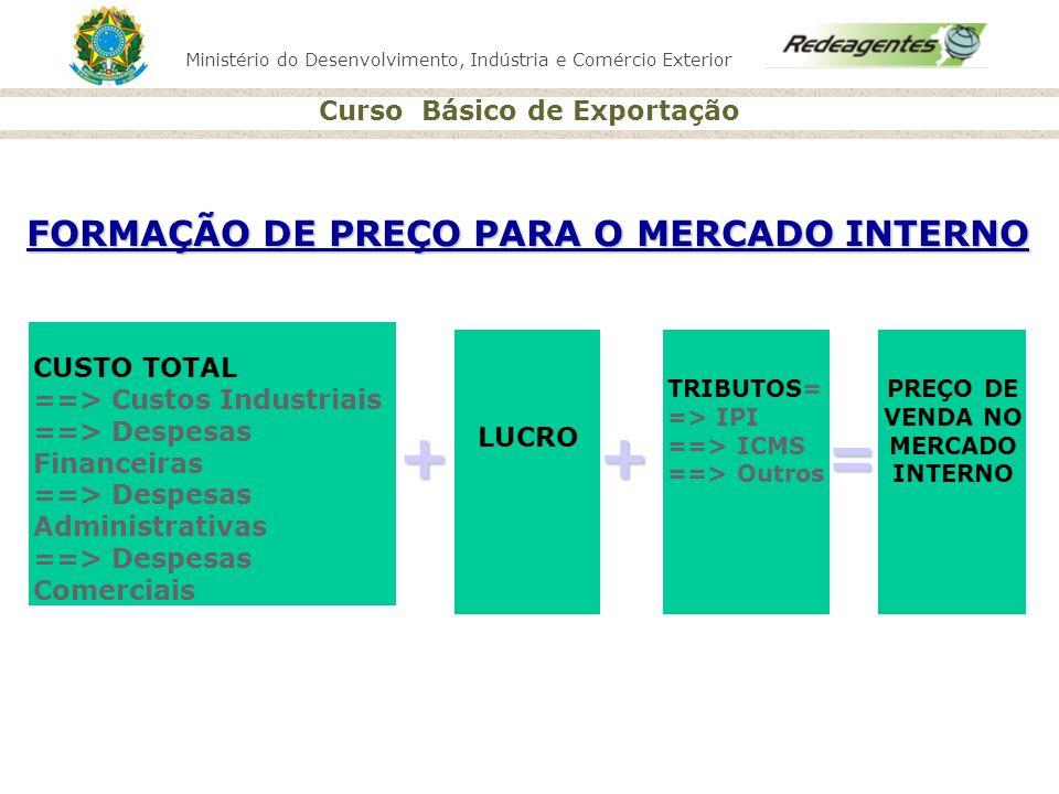 Ministério do Desenvolvimento, Indústria e Comércio Exterior Curso Básico de Exportação CUSTO TOTAL ==> Custos Industriais ==> Despesas Financeiras ==