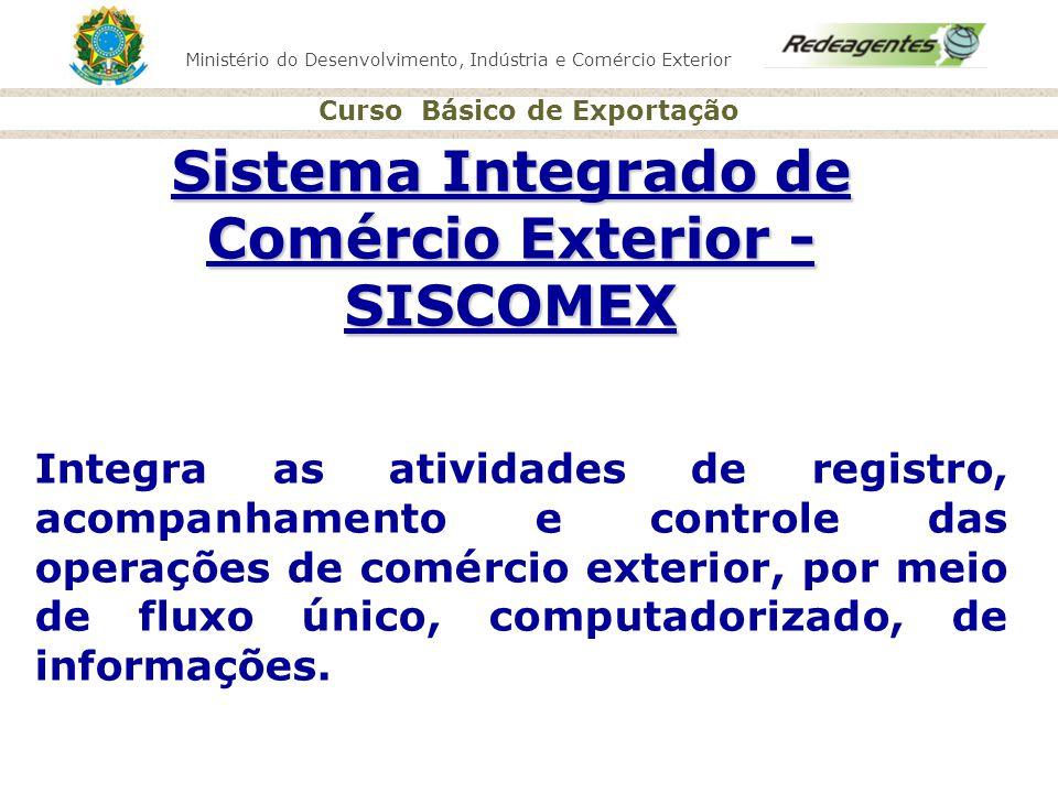 Ministério do Desenvolvimento, Indústria e Comércio Exterior Curso Básico de Exportação Sistema Integrado de Comércio Exterior - SISCOMEX Integra as a