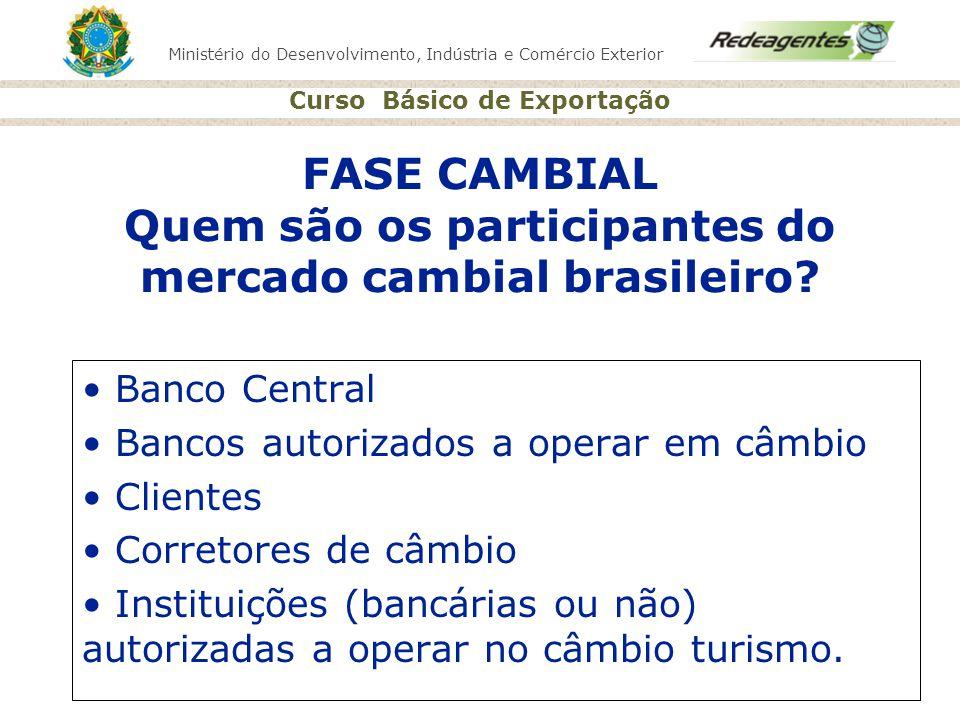 Ministério do Desenvolvimento, Indústria e Comércio Exterior Curso Básico de Exportação FASE CAMBIAL Quem são os participantes do mercado cambial bras