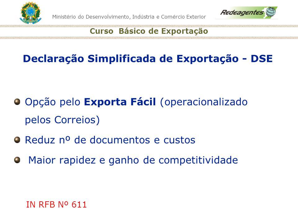 Ministério do Desenvolvimento, Indústria e Comércio Exterior Curso Básico de Exportação Declaração Simplificada de Exportação - DSE Opção pelo Exporta