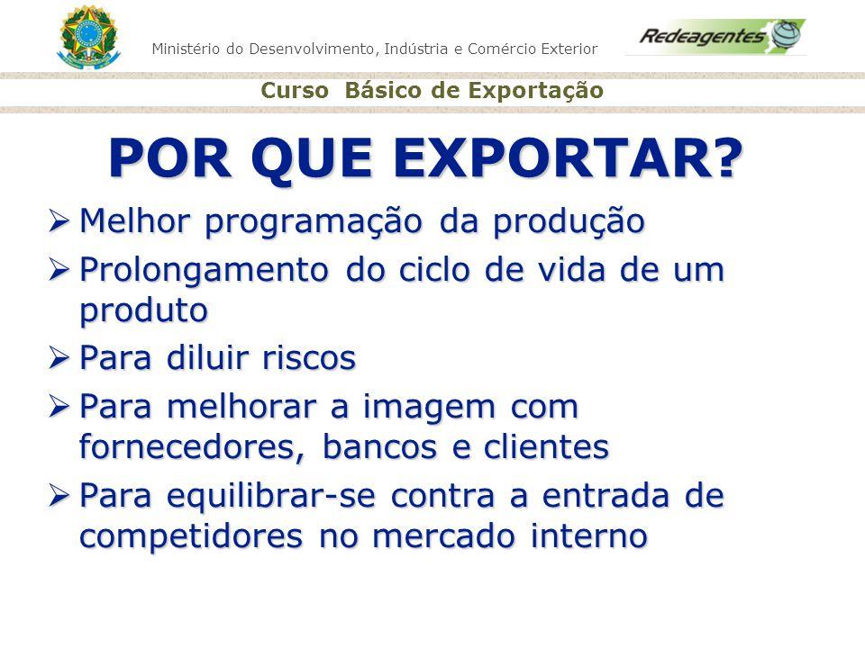 Ministério do Desenvolvimento, Indústria e Comércio Exterior Curso Básico de Exportação POR QUE EXPORTAR? Melhor programação da produção Melhor progra