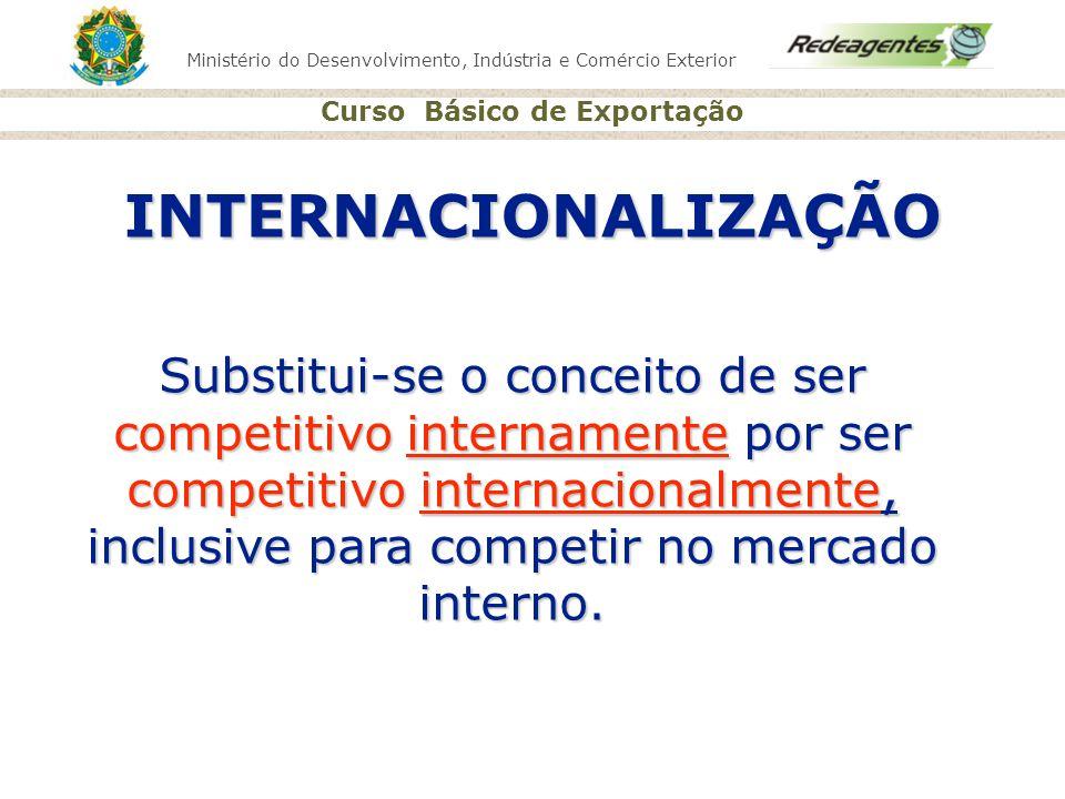 Ministério do Desenvolvimento, Indústria e Comércio Exterior Curso Básico de Exportação INTERNACIONALIZAÇÃO Substitui-se o conceito de ser competitivo