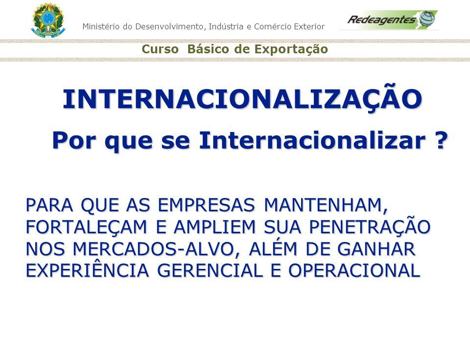 Ministério do Desenvolvimento, Indústria e Comércio Exterior Curso Básico de Exportação INTERNACIONALIZAÇÃO PARA QUE AS EMPRESAS MANTENHAM, FORTALEÇAM