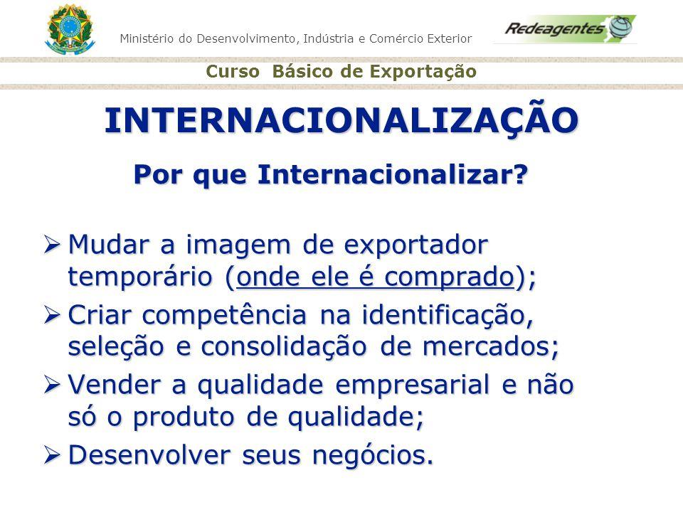 Ministério do Desenvolvimento, Indústria e Comércio Exterior Curso Básico de Exportação INTERNACIONALIZAÇÃO Por que Internacionalizar? Mudar a imagem