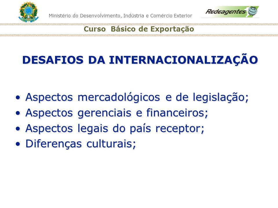 Ministério do Desenvolvimento, Indústria e Comércio Exterior Curso Básico de Exportação DESAFIOS DA INTERNACIONALIZAÇÃO Aspectos mercadológicos e de l