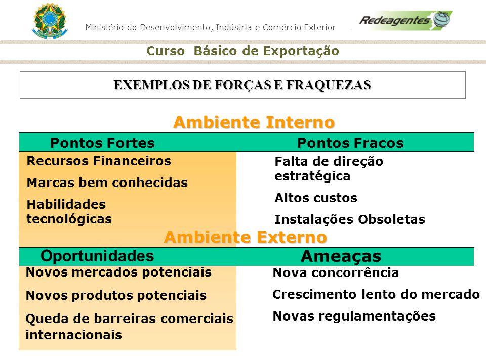 Ministério do Desenvolvimento, Indústria e Comércio Exterior Curso Básico de Exportação EXEMPLOS DE FORÇAS E FRAQUEZAS Ambiente Interno Recursos Finan