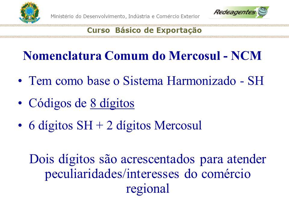 Ministério do Desenvolvimento, Indústria e Comércio Exterior Curso Básico de Exportação Nomenclatura Comum do Mercosul - NCM Tem como base o Sistema H