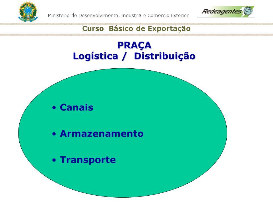 Ministério do Desenvolvimento, Indústria e Comércio Exterior Curso Básico de Exportação PRAÇA Logística / Distribuição Canais Armazenamento Transporte