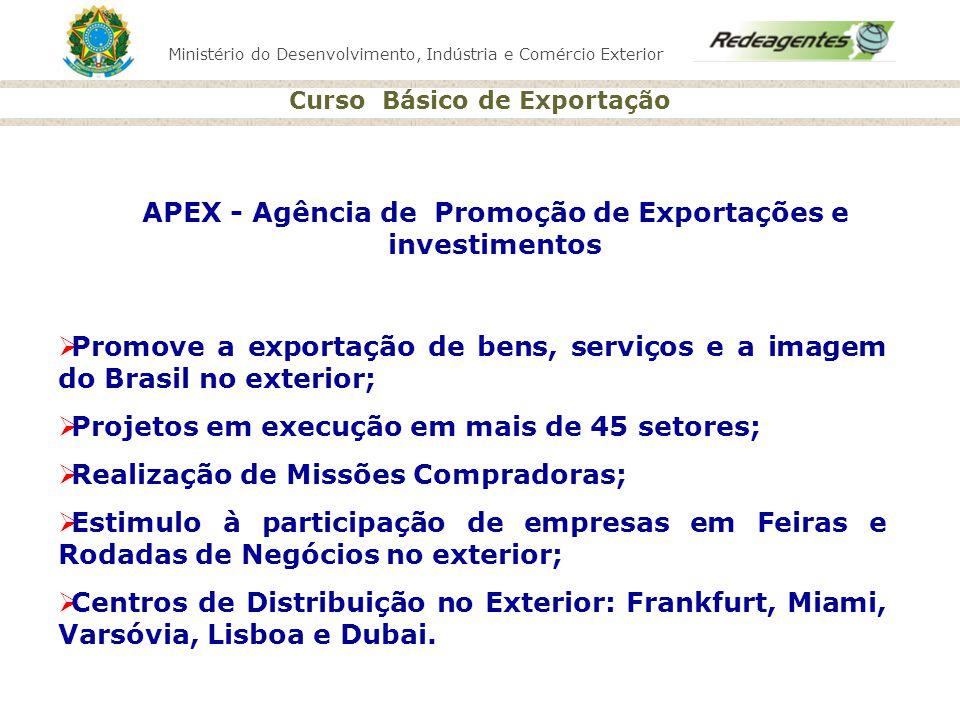 Ministério do Desenvolvimento, Indústria e Comércio Exterior Curso Básico de Exportação APEX - Agência de Promoção de Exportações e investimentos Prom