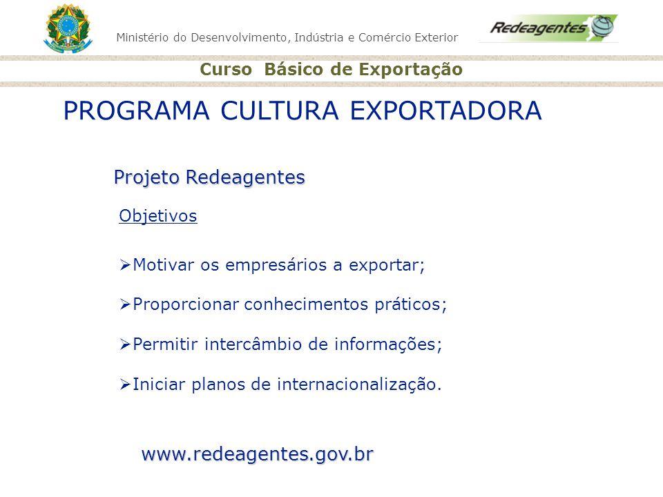 Ministério do Desenvolvimento, Indústria e Comércio Exterior Curso Básico de Exportação Projeto Redeagentes Objetivos Motivar os empresários a exporta