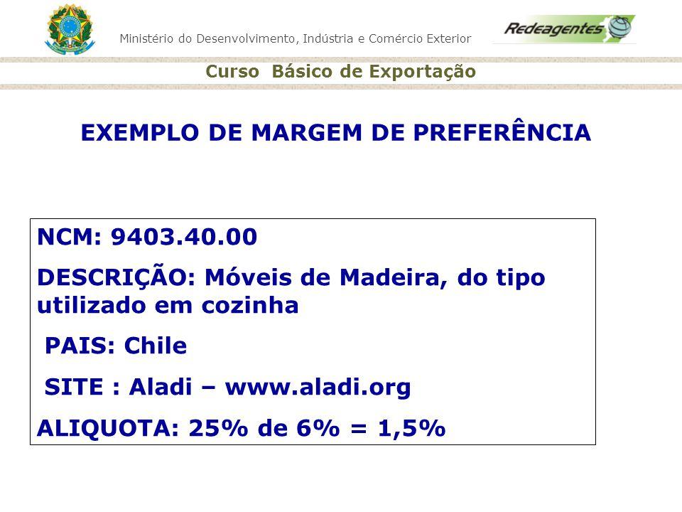 Ministério do Desenvolvimento, Indústria e Comércio Exterior Curso Básico de Exportação EXEMPLO DE MARGEM DE PREFERÊNCIA NCM: 9403.40.00 DESCRIÇÃO: Mó
