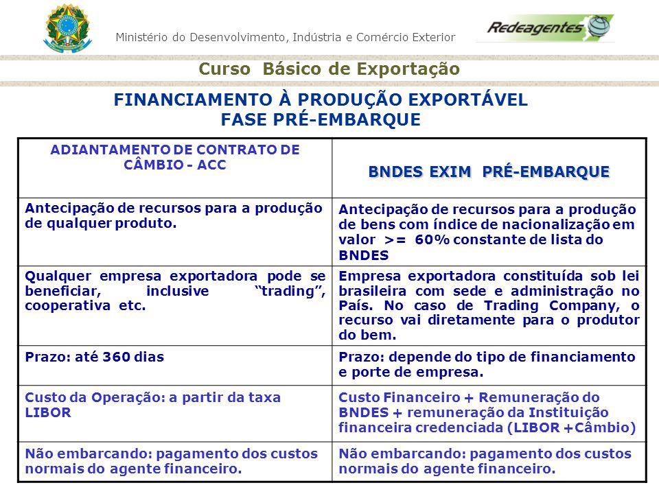 Ministério do Desenvolvimento, Indústria e Comércio Exterior Curso Básico de Exportação FINANCIAMENTO À PRODUÇÃO EXPORTÁVEL FASE PRÉ-EMBARQUE ADIANTAM