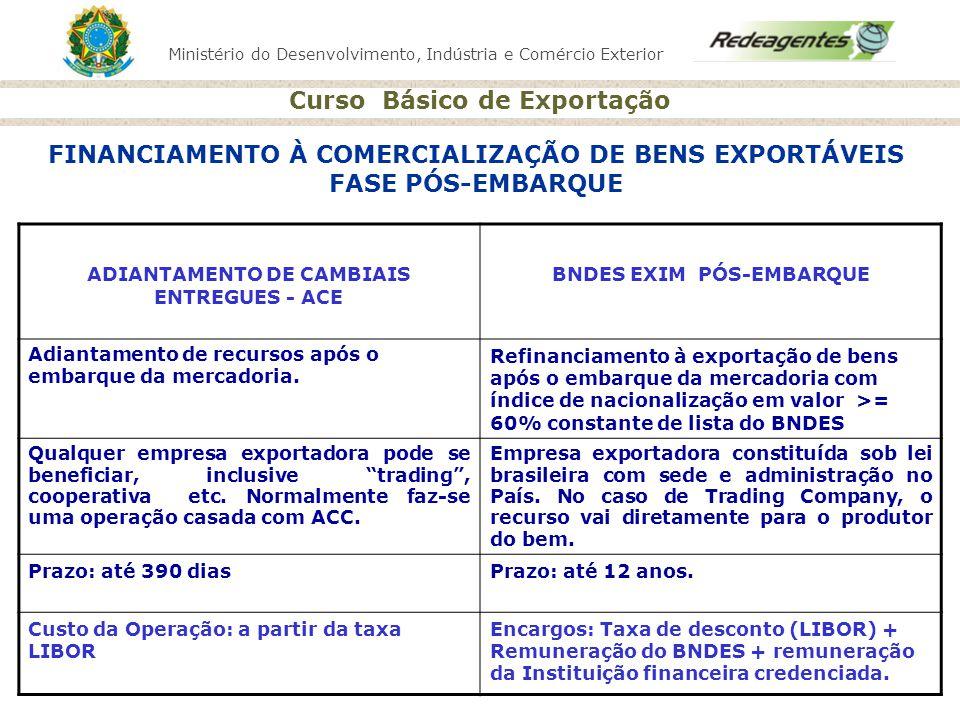 Ministério do Desenvolvimento, Indústria e Comércio Exterior Curso Básico de Exportação FINANCIAMENTO À COMERCIALIZAÇÃO DE BENS EXPORTÁVEIS FASE PÓS-E