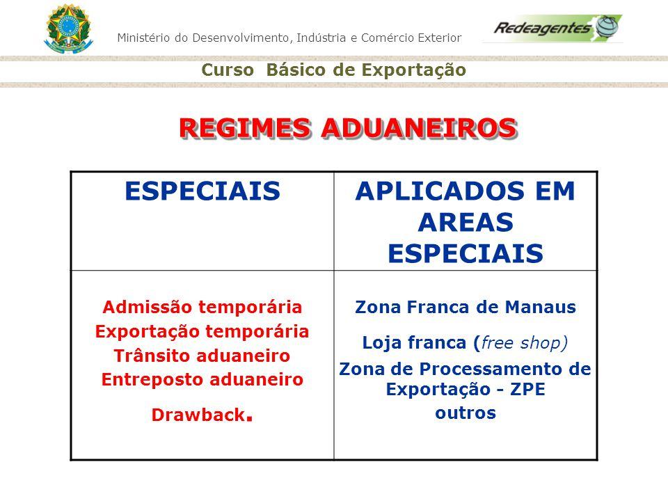Ministério do Desenvolvimento, Indústria e Comércio Exterior Curso Básico de Exportação REGIMES ADUANEIROS ESPECIAISAPLICADOS EM AREAS ESPECIAIS Admis