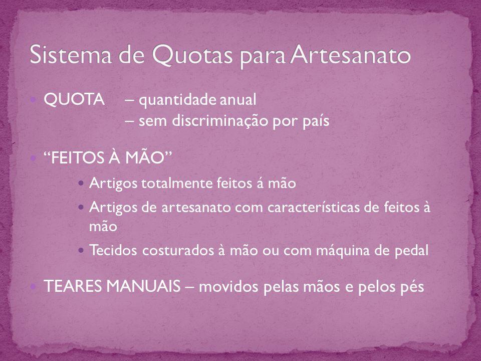 QUOTA – quantidade anual – sem discriminação por país FEITOS À MÃO Artigos totalmente feitos á mão Artigos de artesanato com características de feitos