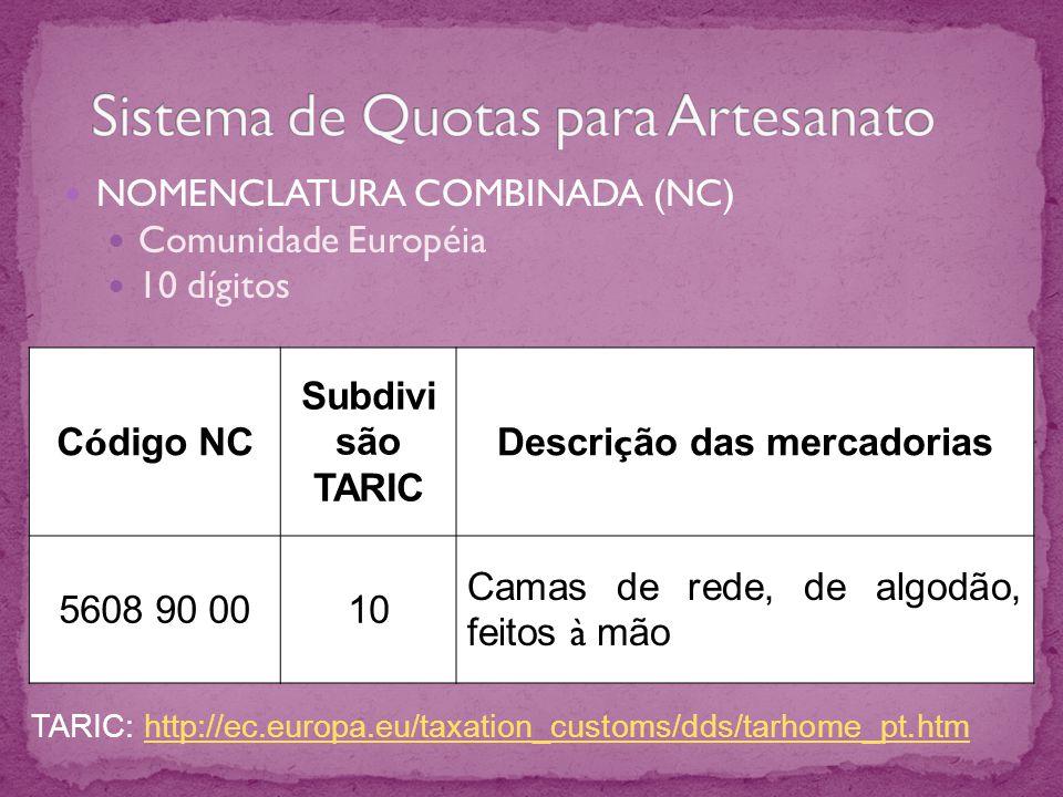 NOMENCLATURA COMBINADA (NC) Comunidade Européia 10 dígitos C ó digo NC Subdivi são TARIC Descri ç ão das mercadorias 5608 90 0010 Camas de rede, de al