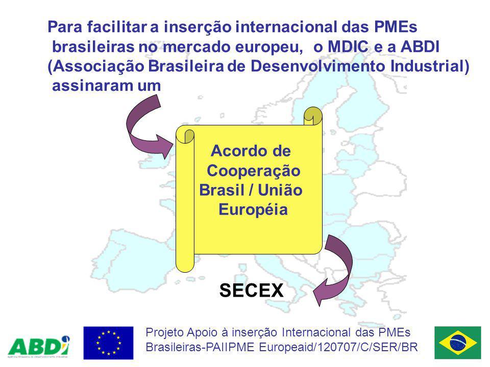 Quais as atividades previstas no Acordo MDIC/ABDI para acessar o Mercado Europeu.