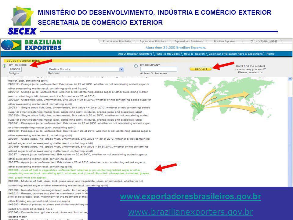MINISTÉRIO DO DESENVOLVIMENTO, INDÚSTRIA E COMÉRCIO EXTERIOR SECRETARIA DE COMÉRCIO EXTERIOR www.exportadoresbrasileiros.gov.br www.brazilianexporters