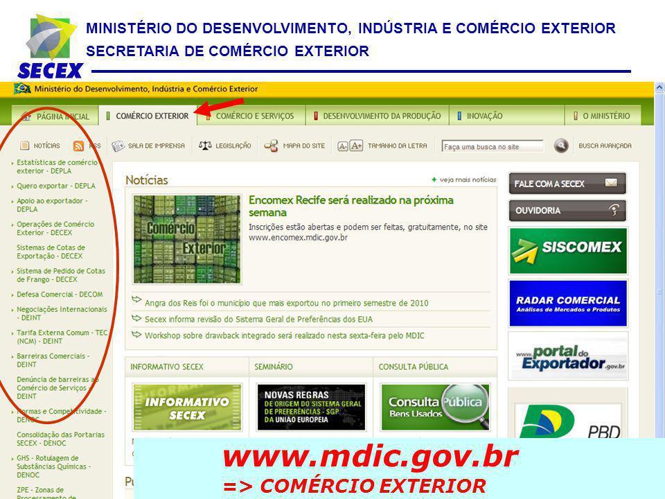 MINISTÉRIO DO DESENVOLVIMENTO, INDÚSTRIA E COMÉRCIO EXTERIOR SECRETARIA DE COMÉRCIO EXTERIOR www.mdic.gov.br => COMÉRCIO EXTERIOR