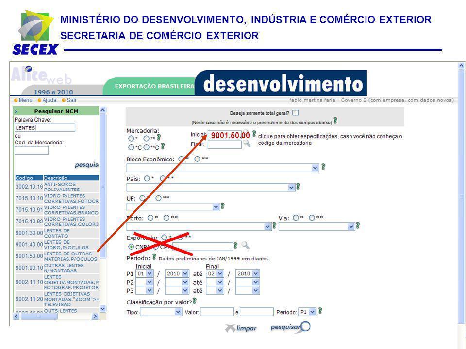 MINISTÉRIO DO DESENVOLVIMENTO, INDÚSTRIA E COMÉRCIO EXTERIOR SECRETARIA DE COMÉRCIO EXTERIOR 9001.50.00