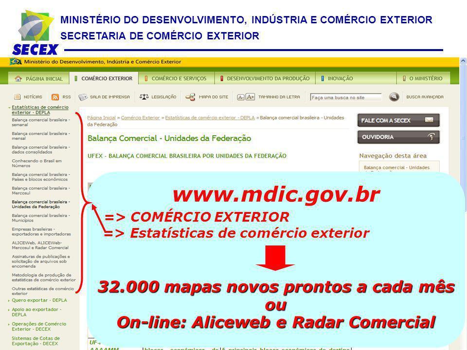 MINISTÉRIO DO DESENVOLVIMENTO, INDÚSTRIA E COMÉRCIO EXTERIOR SECRETARIA DE COMÉRCIO EXTERIOR www.mdic.gov.br => COMÉRCIO EXTERIOR => Estatísticas de c