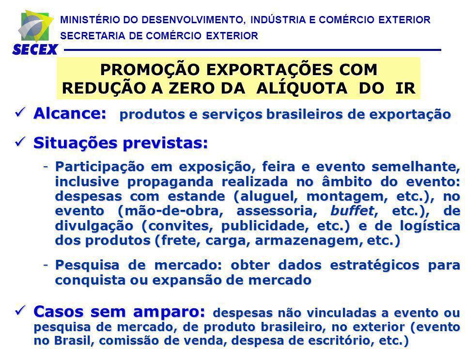 MINISTÉRIO DO DESENVOLVIMENTO, INDÚSTRIA E COMÉRCIO EXTERIOR SECRETARIA DE COMÉRCIO EXTERIOR Alcance: produtos e serviços brasileiros de exportação Al