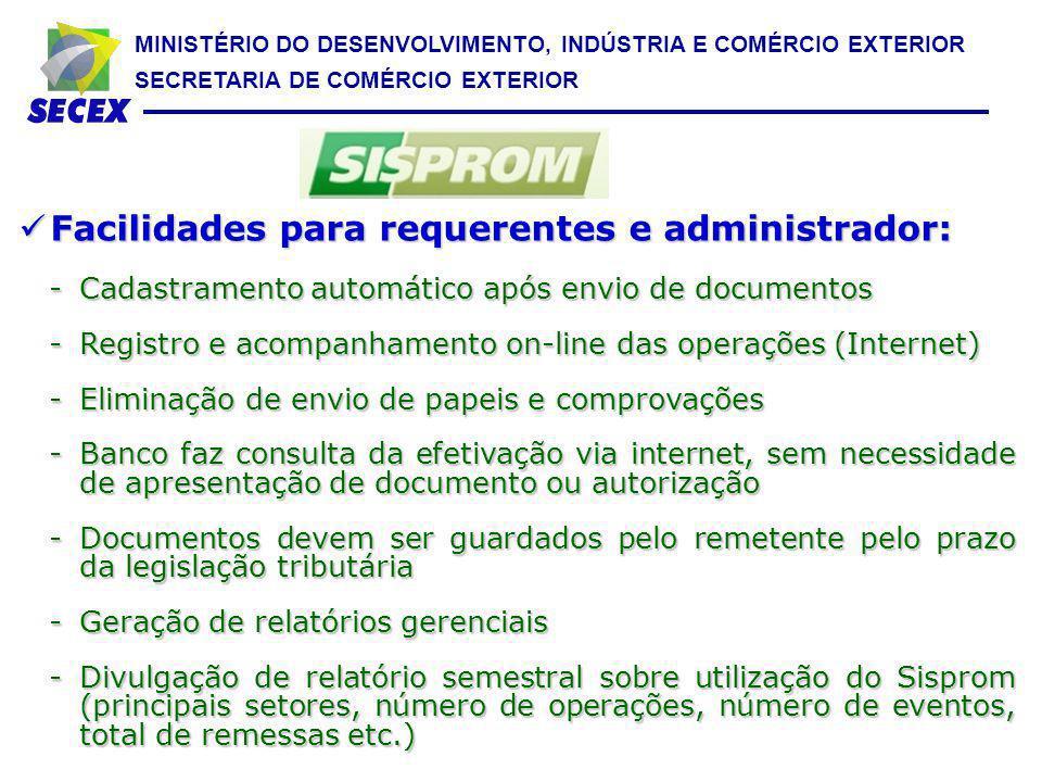 MINISTÉRIO DO DESENVOLVIMENTO, INDÚSTRIA E COMÉRCIO EXTERIOR SECRETARIA DE COMÉRCIO EXTERIOR Facilidades para requerentes e administrador: Facilidades