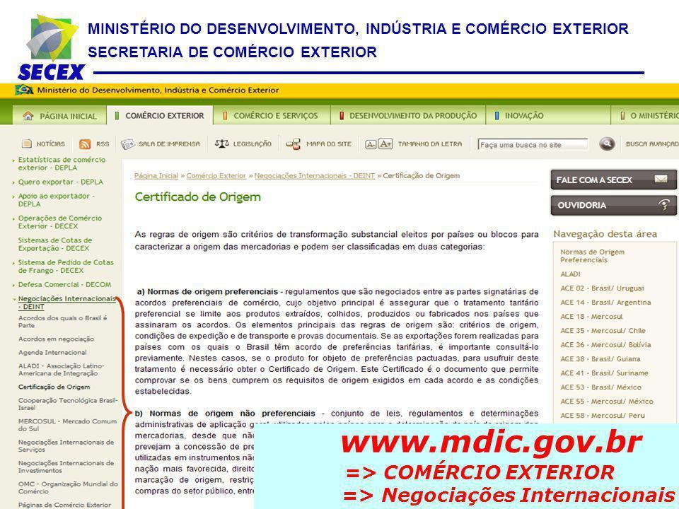 MINISTÉRIO DO DESENVOLVIMENTO, INDÚSTRIA E COMÉRCIO EXTERIOR SECRETARIA DE COMÉRCIO EXTERIOR www.mdic.gov.br => COMÉRCIO EXTERIOR => Negociações Inter