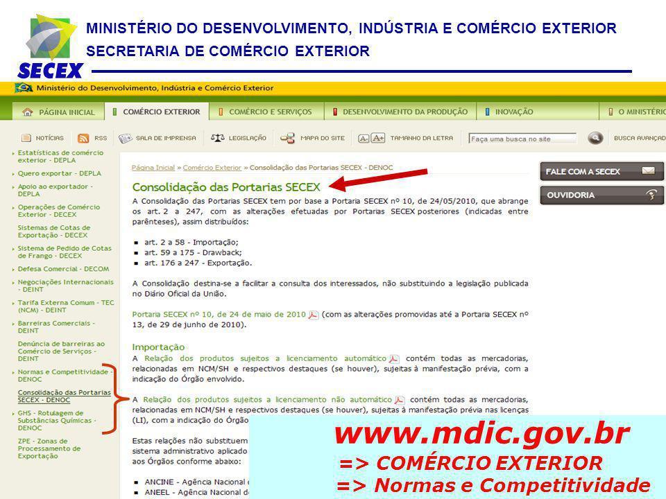 MINISTÉRIO DO DESENVOLVIMENTO, INDÚSTRIA E COMÉRCIO EXTERIOR SECRETARIA DE COMÉRCIO EXTERIOR www.mdic.gov.br => COMÉRCIO EXTERIOR => Normas e Competit