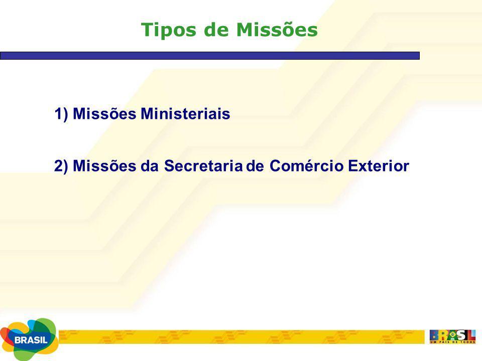 Tipos de Missões 1) Missões Ministeriais 2) Missões da Secretaria de Comércio Exterior